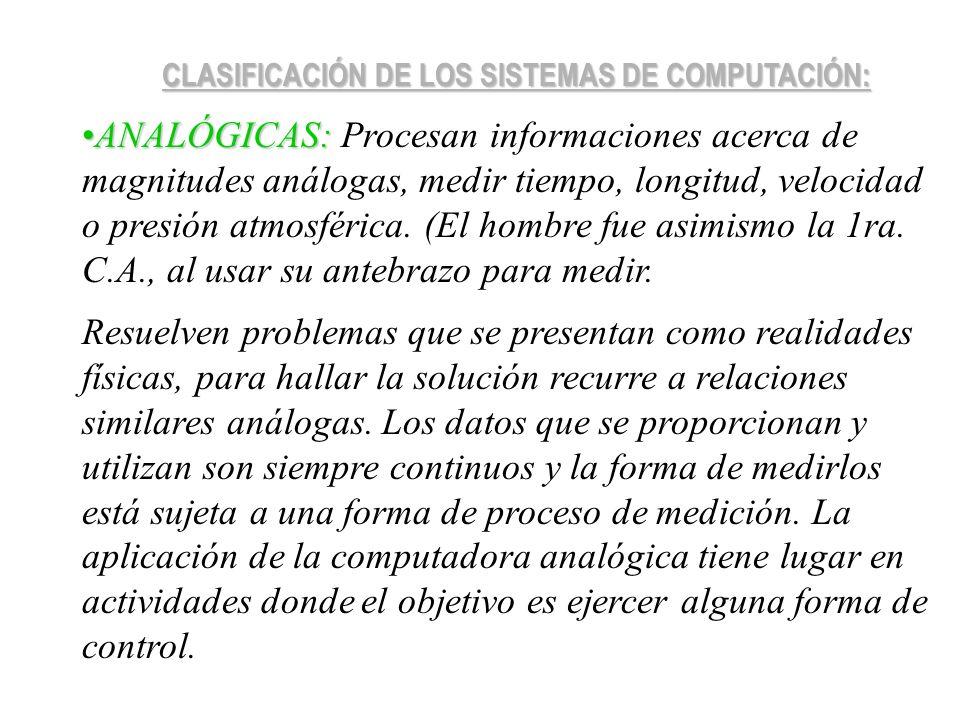 CLASIFICACIÓN DE LOS SISTEMAS DE COMPUTACIÓN: