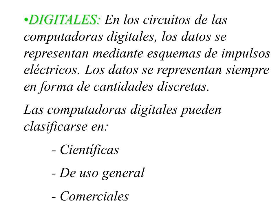 DIGITALES: En los circuitos de las computadoras digitales, los datos se representan mediante esquemas de impulsos eléctricos. Los datos se representan siempre en forma de cantidades discretas.