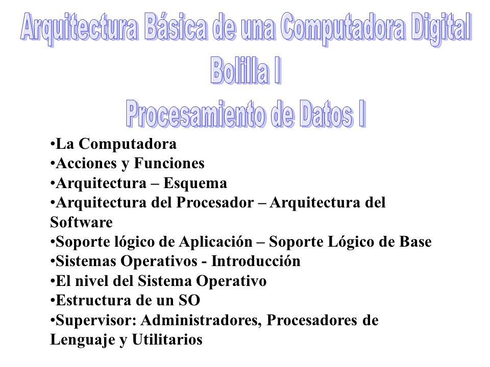 Arquitectura Básica de una Computadora Digital Bolilla I