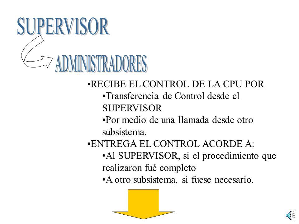 SUPERVISOR ADMINISTRADORES RECIBE EL CONTROL DE LA CPU POR