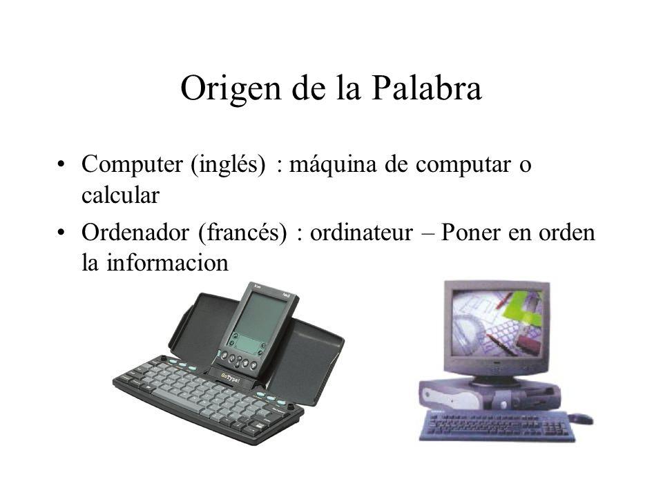 Origen de la Palabra Computer (inglés) : máquina de computar o calcular.