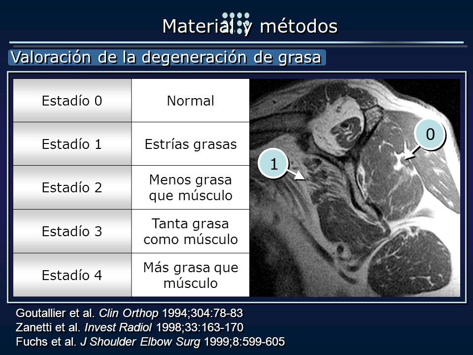 Material y métodos Valoración de la degeneración de grasa 1 Estadío 0