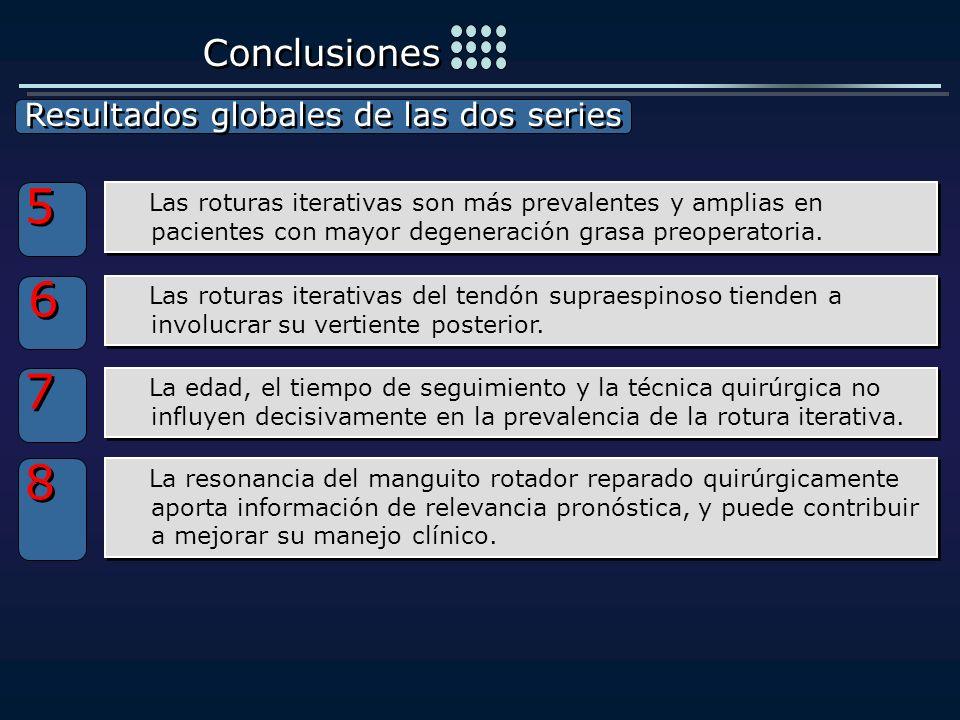 5 6 7 8 Conclusiones Resultados globales de las dos series