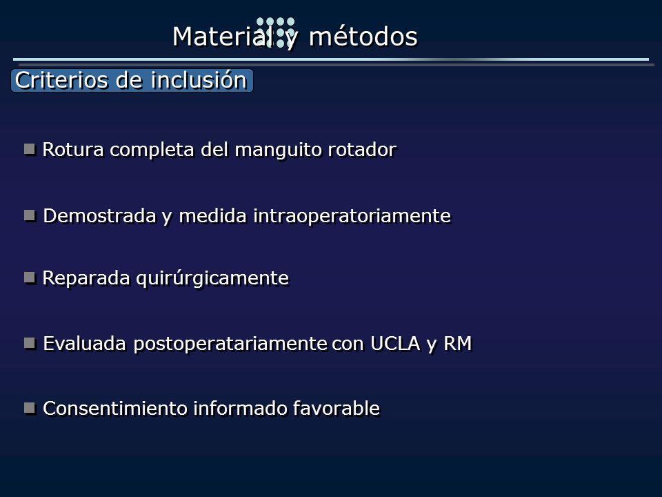 Material y métodos Criterios de inclusión