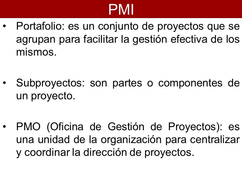 PMIPortafolio: es un conjunto de proyectos que se agrupan para facilitar la gestión efectiva de los mismos.