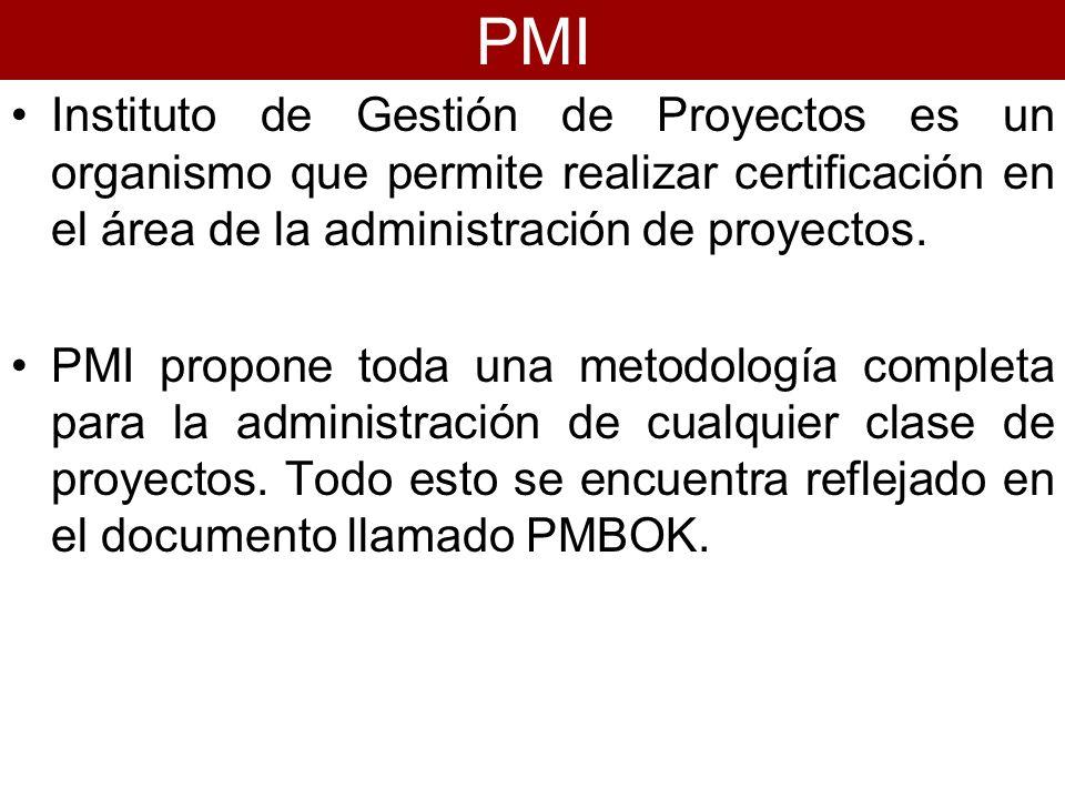 PMIInstituto de Gestión de Proyectos es un organismo que permite realizar certificación en el área de la administración de proyectos.