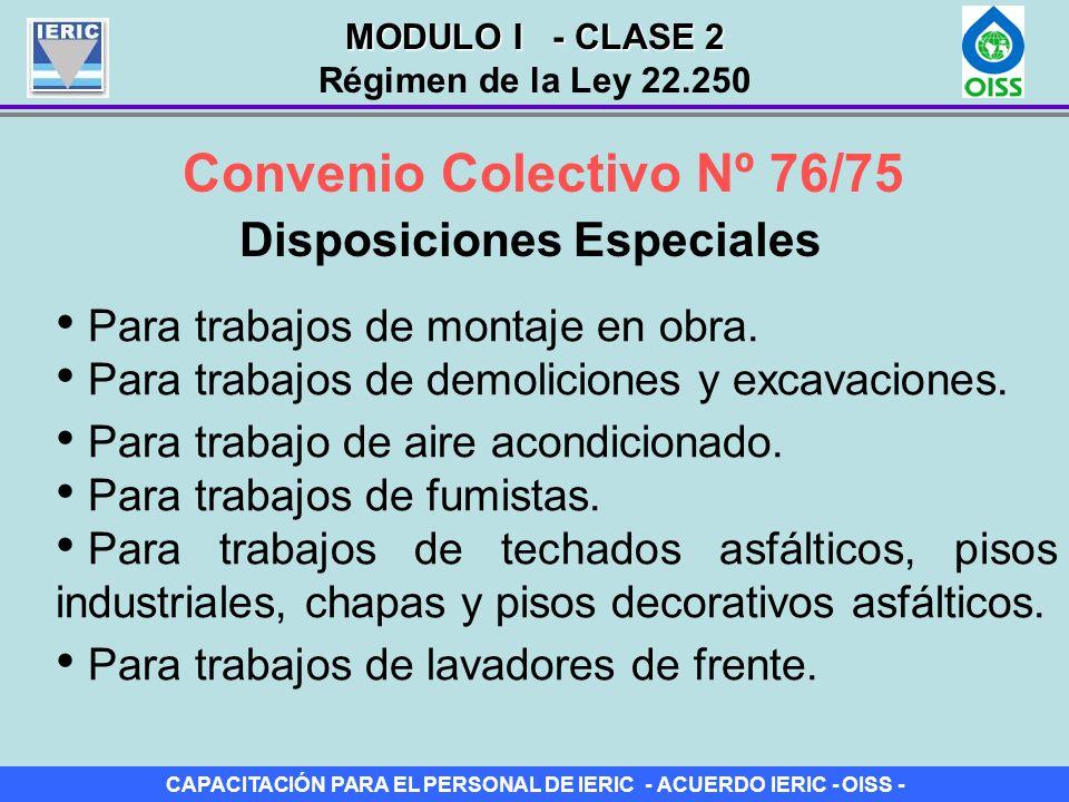 Convenio Colectivo Nº 76/75 Disposiciones Especiales