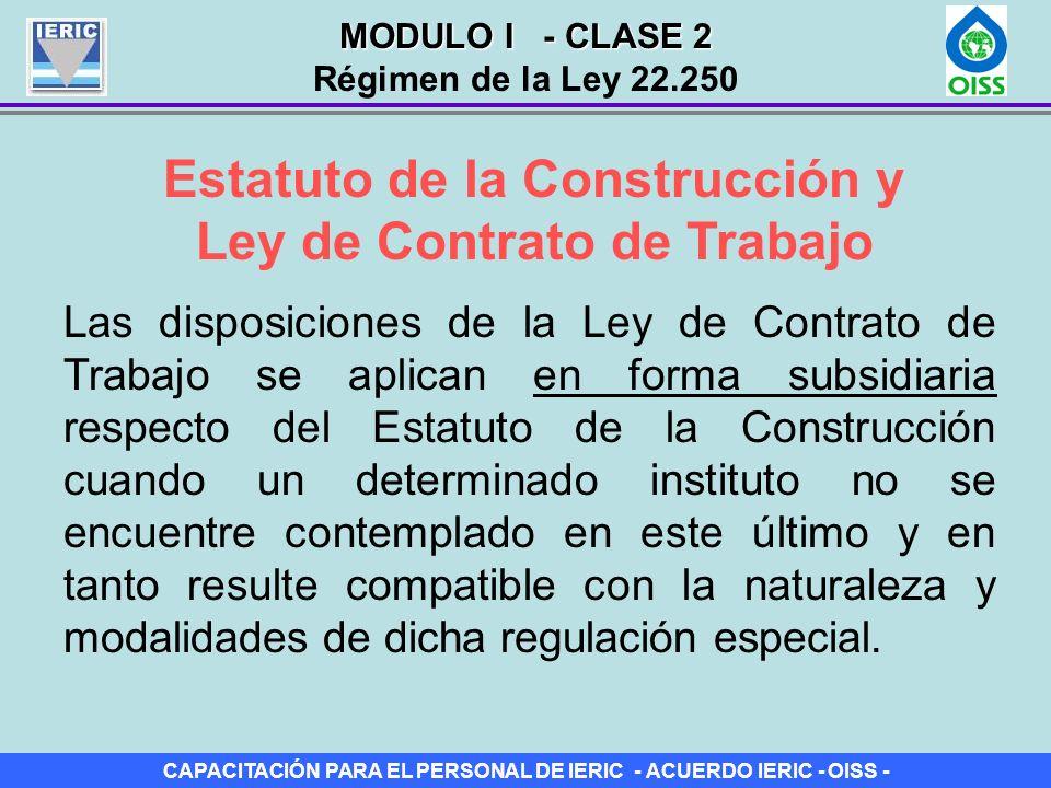 Estatuto de la Construcción y Ley de Contrato de Trabajo