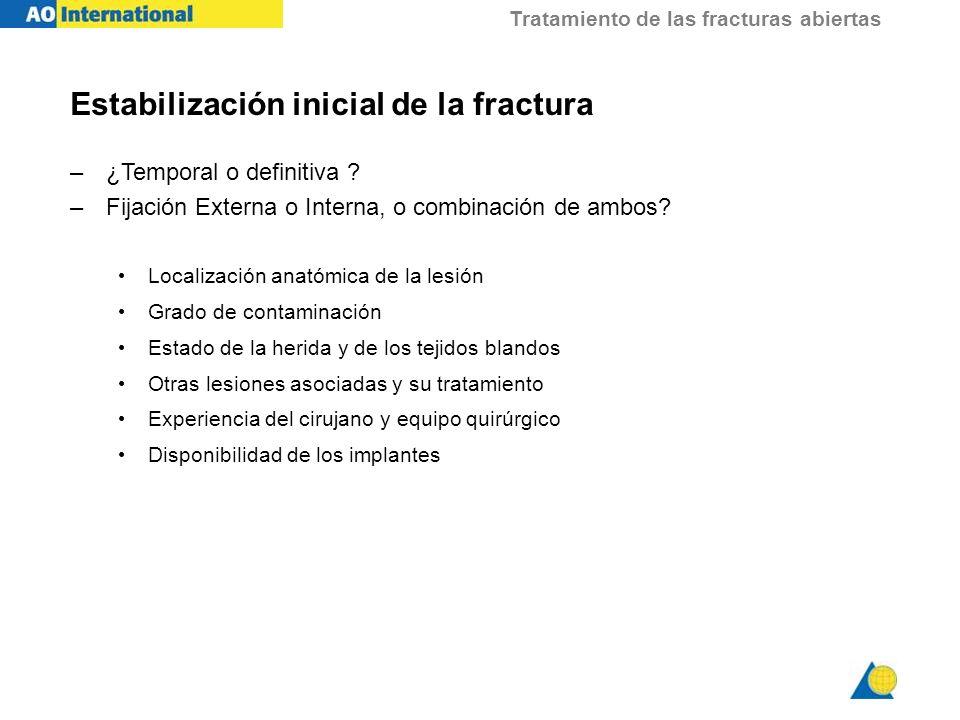 Estabilización inicial de la fractura
