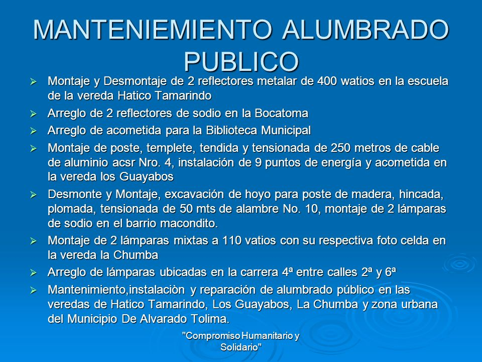 MANTENIEMIENTO ALUMBRADO PUBLICO