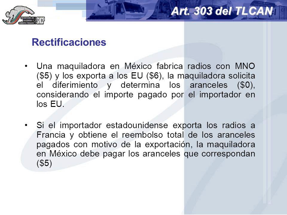 Art. 303 del TLCAN Rectificaciones