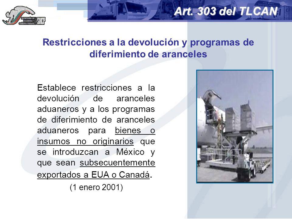 Restricciones a la devolución y programas de diferimiento de aranceles