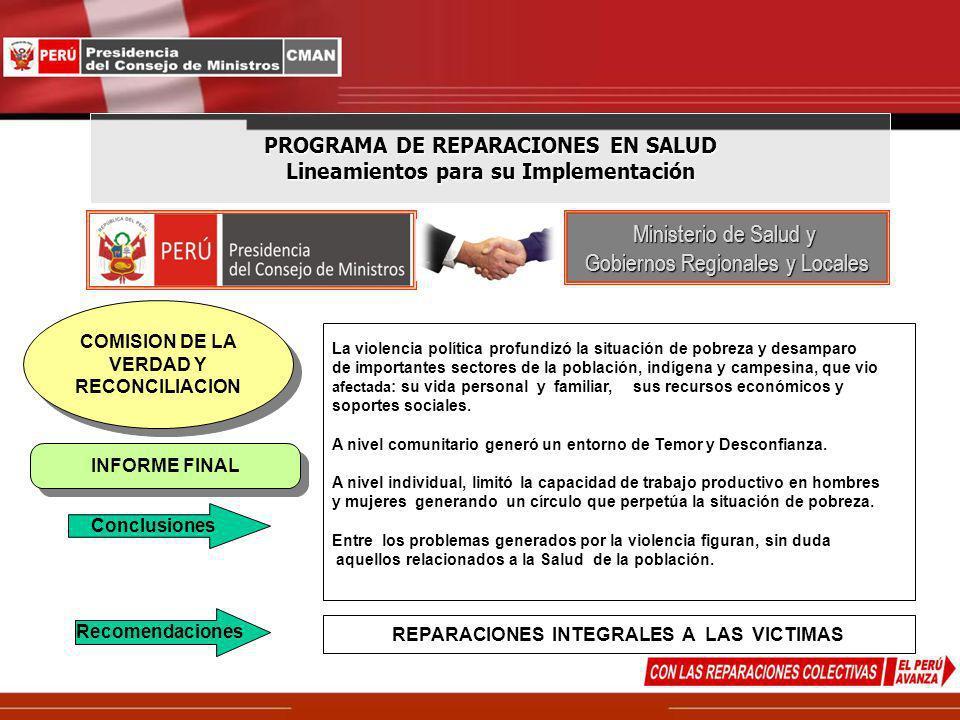PROGRAMA DE REPARACIONES EN SALUD Lineamientos para su Implementación