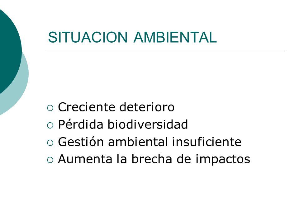 SITUACION AMBIENTAL Creciente deterioro Pérdida biodiversidad