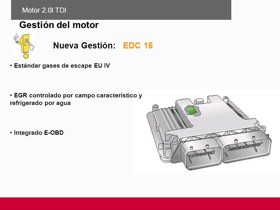 Gestión del motor Nueva Gestión: EDC 16 Motor 2.0l TDI