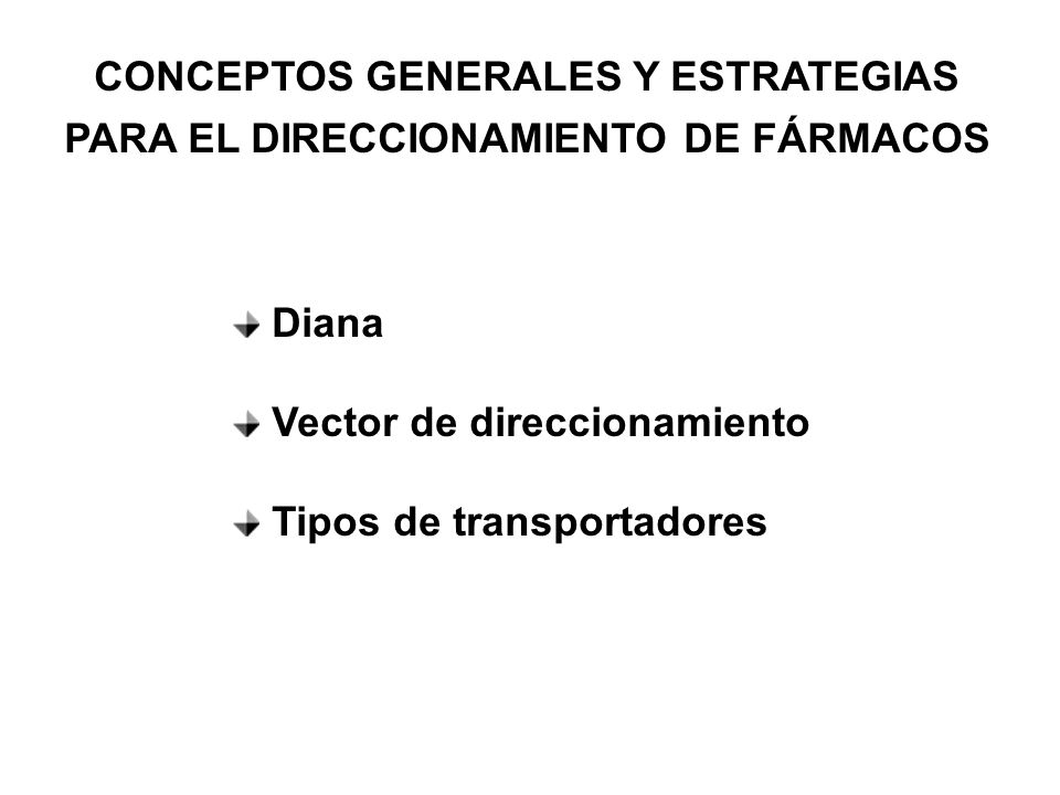 CONCEPTOS GENERALES Y ESTRATEGIAS PARA EL DIRECCIONAMIENTO DE FÁRMACOS