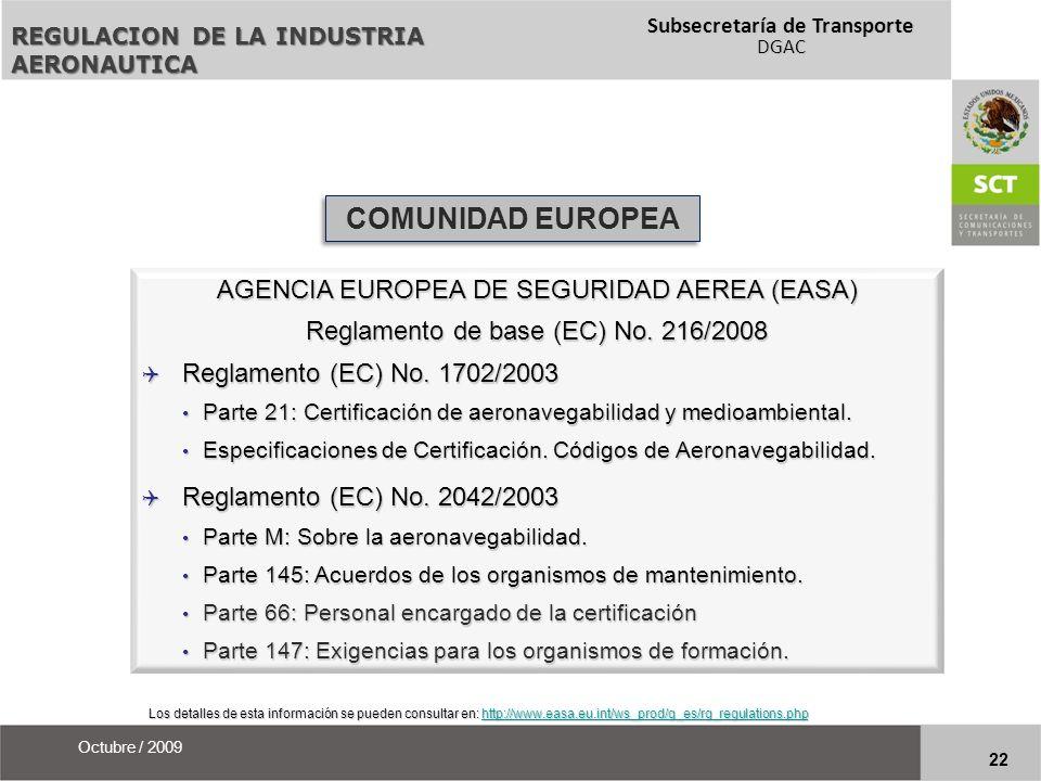 COMUNIDAD EUROPEA AGENCIA EUROPEA DE SEGURIDAD AEREA (EASA)