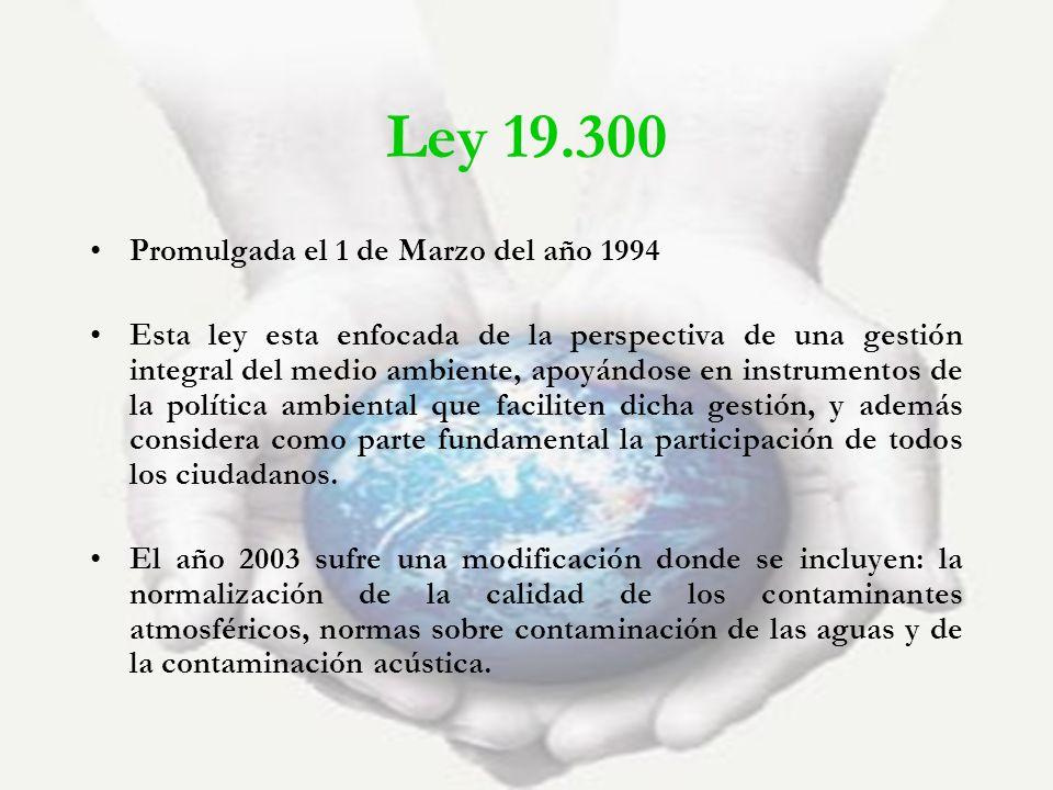 Ley 19.300 Promulgada el 1 de Marzo del año 1994