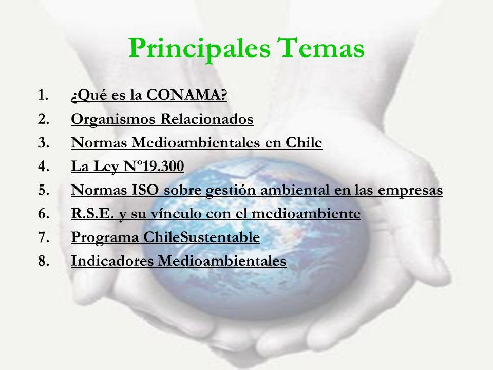 Principales Temas ¿Qué es la CONAMA Organismos Relacionados