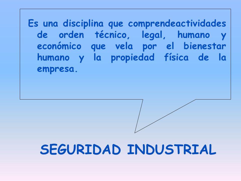 Es una disciplina que comprendeactividades de orden técnico, legal, humano y económico que vela por el bienestar humano y la propiedad física de la empresa.
