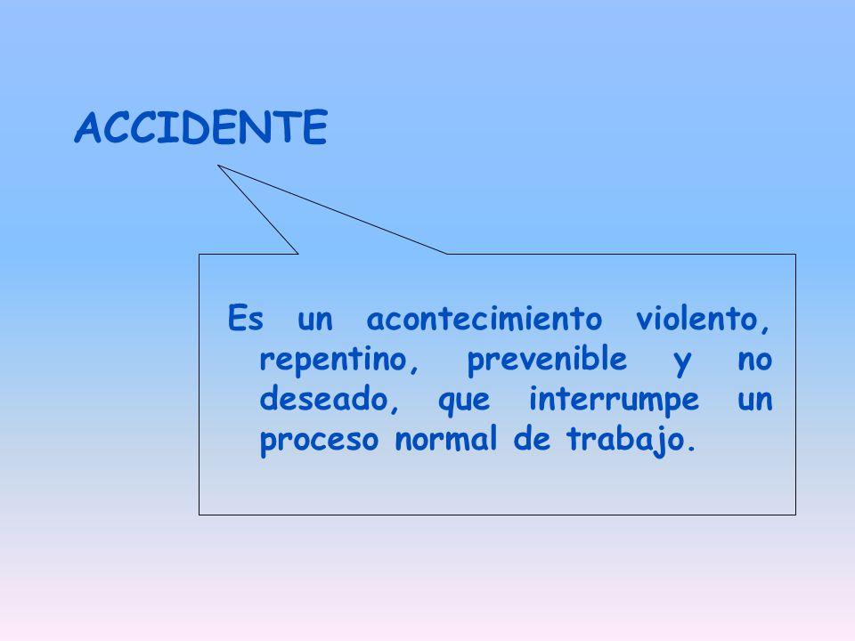 ACCIDENTE Es un acontecimiento violento, repentino, prevenible y no deseado, que interrumpe un proceso normal de trabajo.