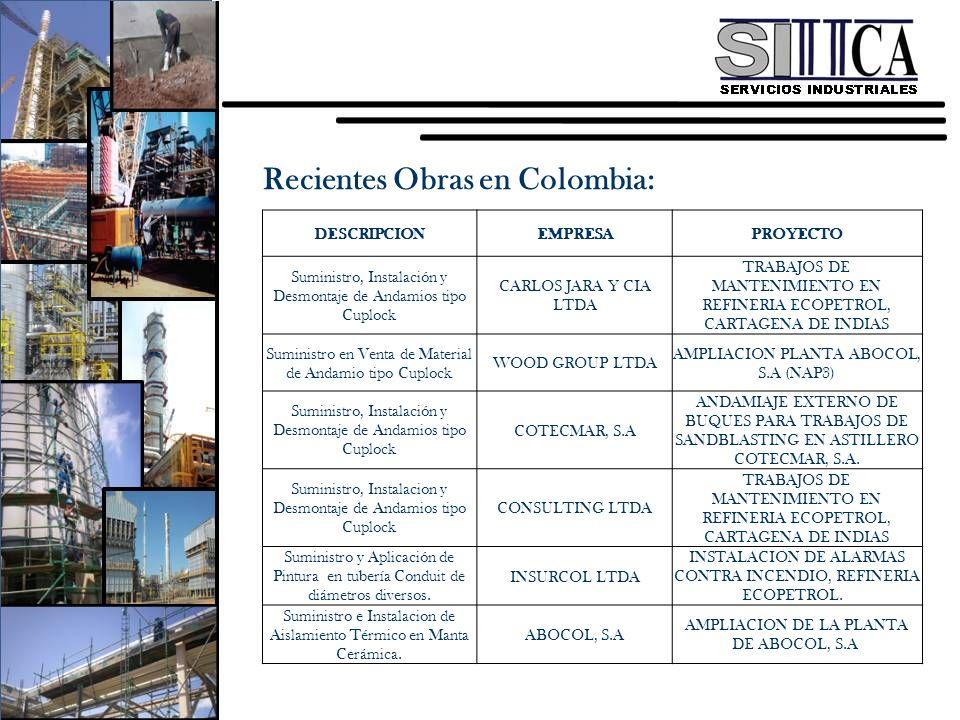 Recientes Obras en Colombia: