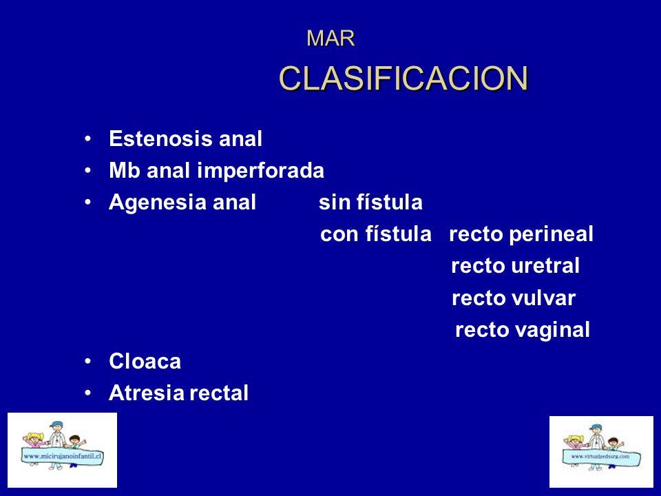 MAR CLASIFICACION Estenosis anal. Mb anal imperforada. Agenesia anal sin fístula.