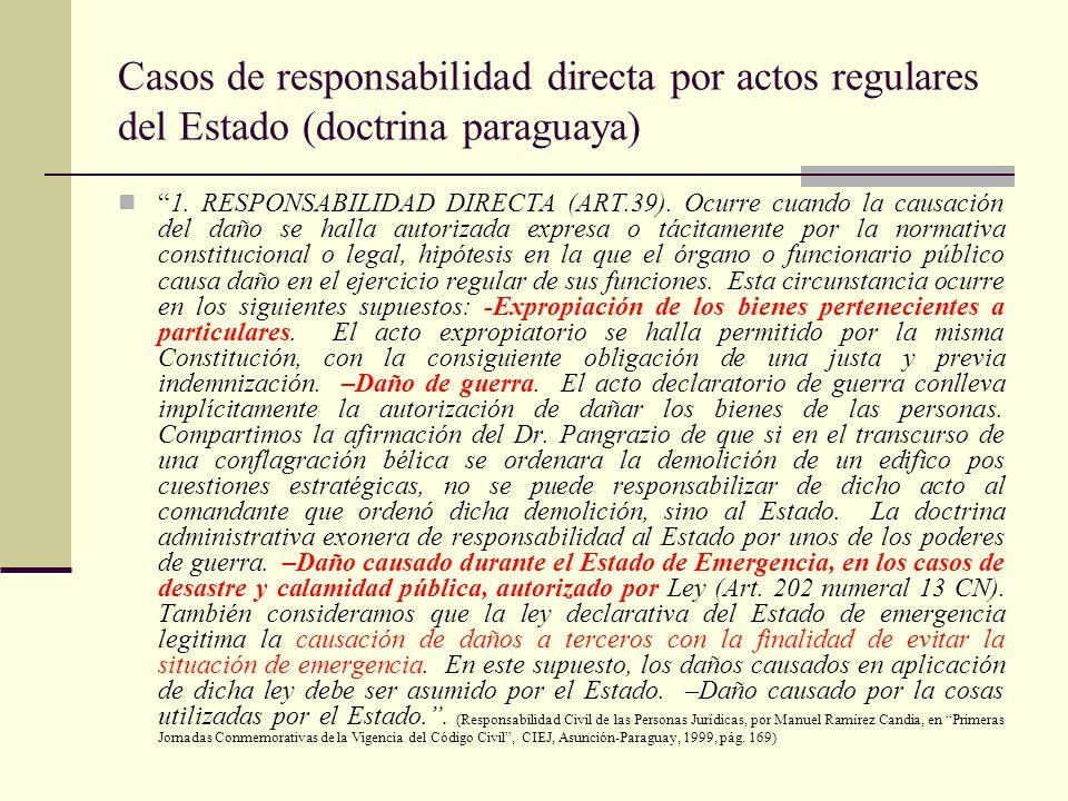 Casos de responsabilidad directa por actos regulares del Estado (doctrina paraguaya)