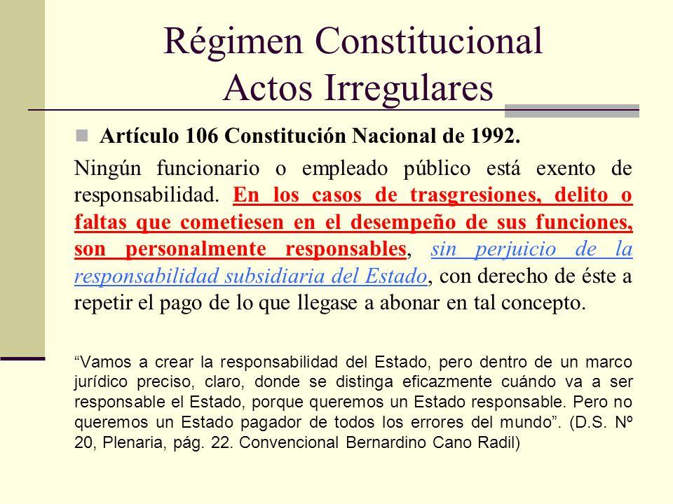 Régimen Constitucional Actos Irregulares