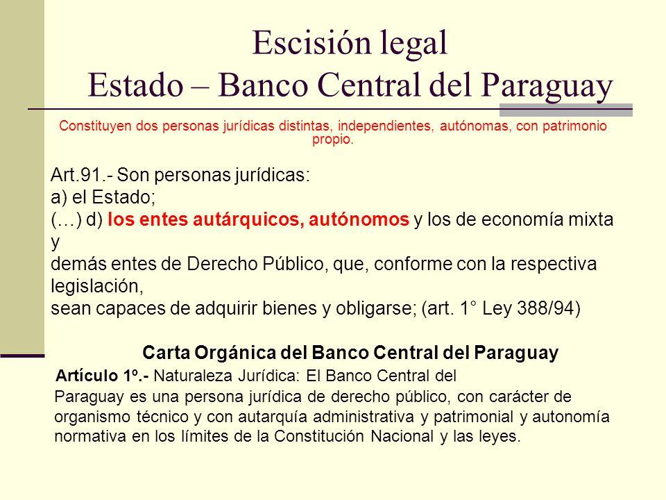 Escisión legal Estado – Banco Central del Paraguay
