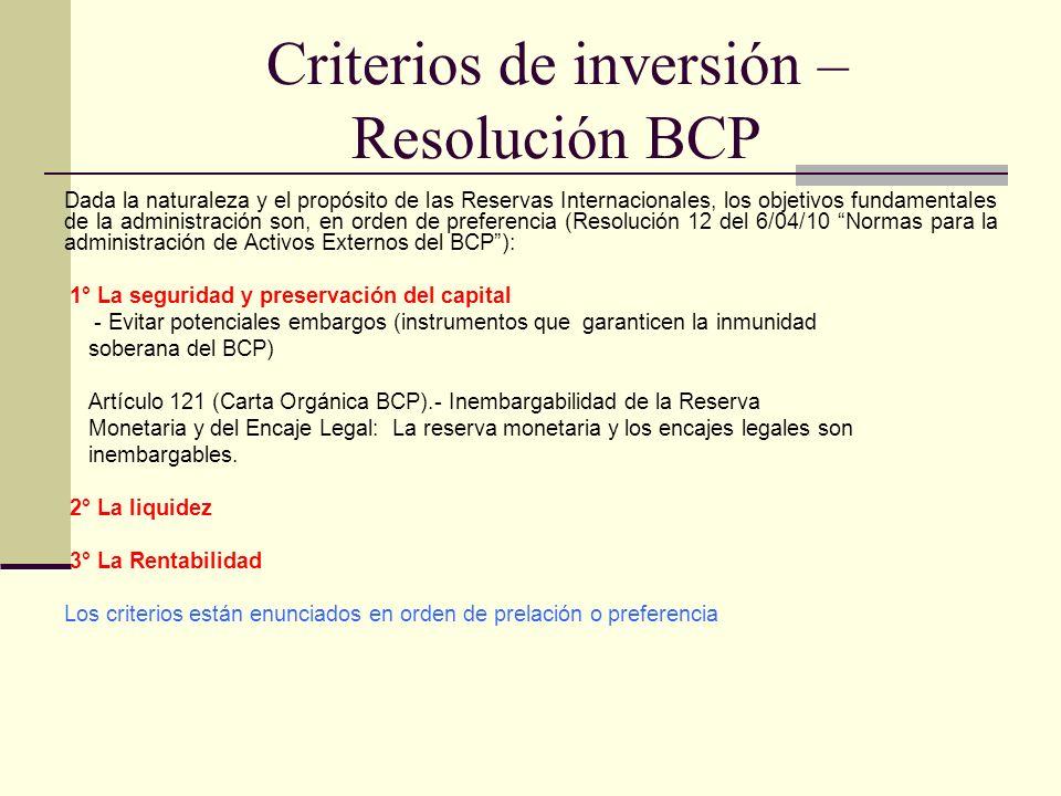 Criterios de inversión – Resolución BCP