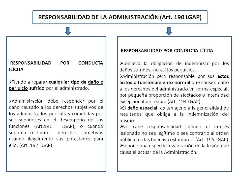 RESPONSABILIDAD DE LA ADMINISTRACIÓN (Art. 190 LGAP)