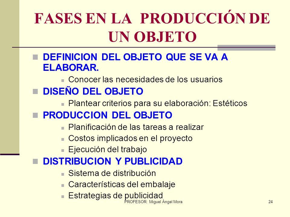 FASES EN LA PRODUCCIÓN DE UN OBJETO
