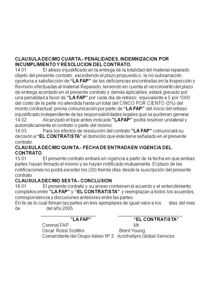CLAUSULA DECIMO CUARTA