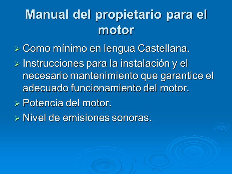 Manual del propietario para el motor