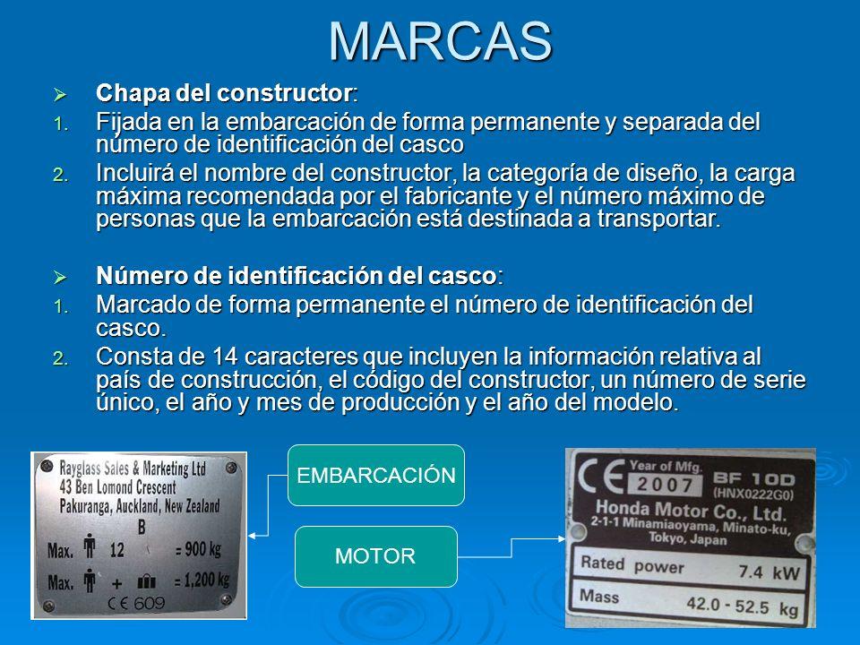 MARCAS Chapa del constructor: