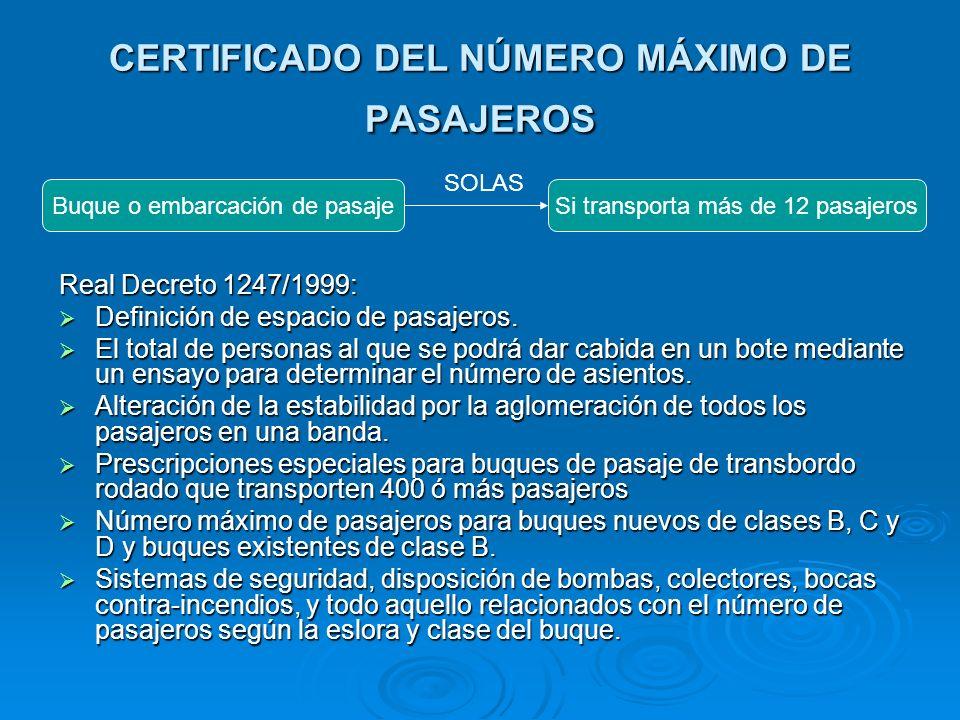 CERTIFICADO DEL NÚMERO MÁXIMO DE PASAJEROS