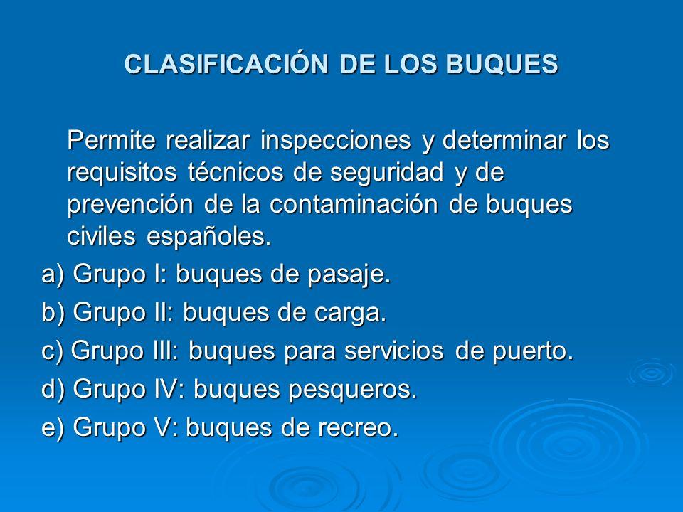 CLASIFICACIÓN DE LOS BUQUES
