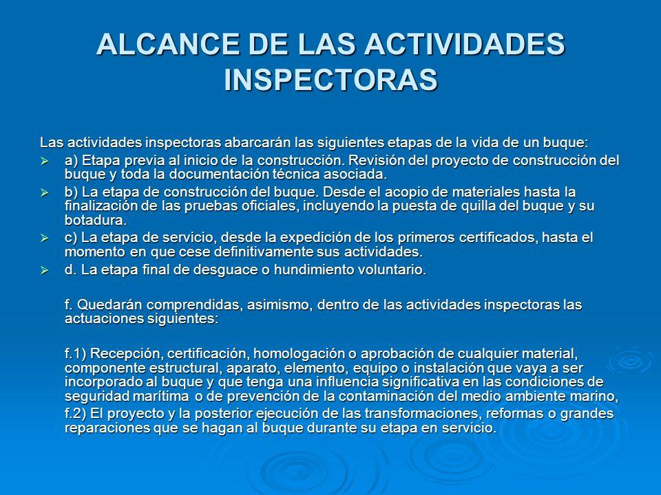 ALCANCE DE LAS ACTIVIDADES INSPECTORAS