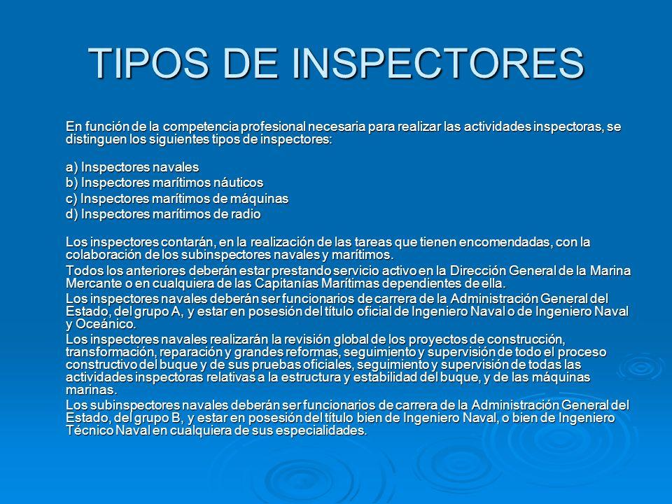 TIPOS DE INSPECTORES