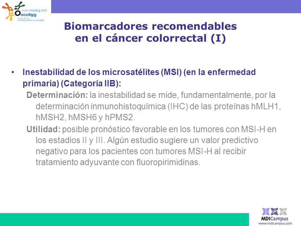 Biomarcadores recomendables en el cáncer colorrectal (I)