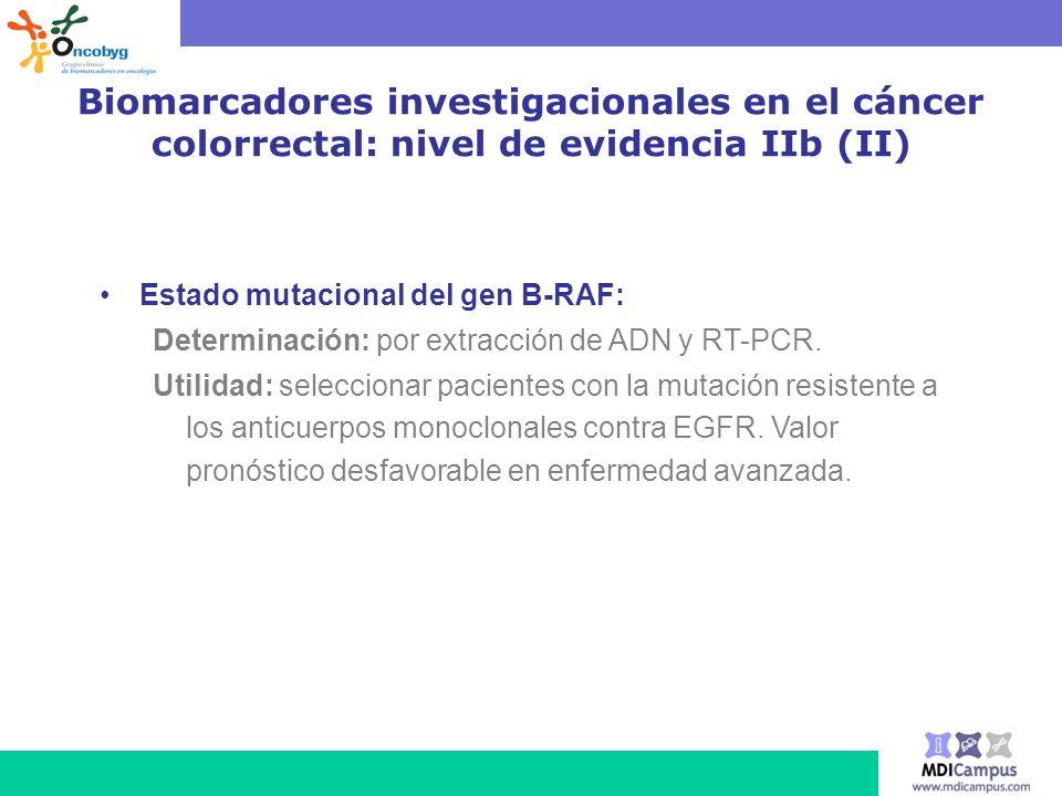 Biomarcadores investigacionales en el cáncer colorrectal: nivel de evidencia IIb (II)