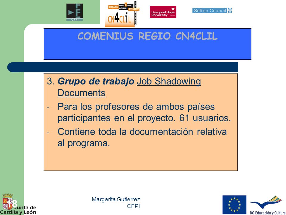 COMENIUS REGIO CN4CLIL 3. Grupo de trabajo Job Shadowing Documents