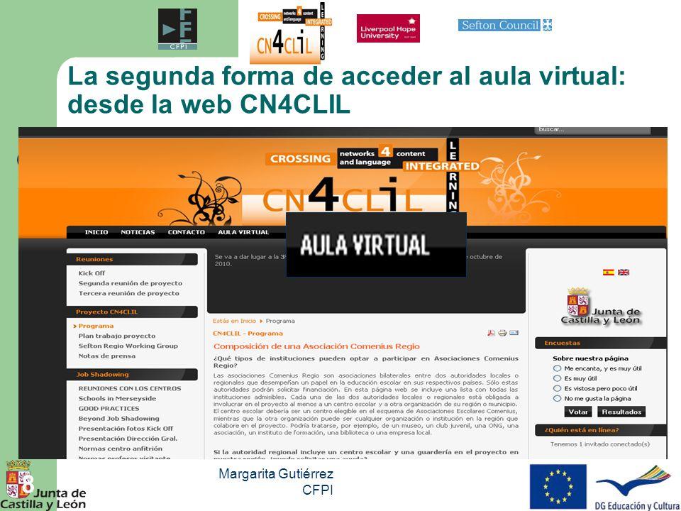 La segunda forma de acceder al aula virtual: desde la web CN4CLIL
