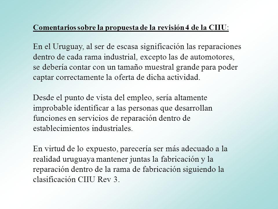 Comentarios sobre la propuesta de la revisión 4 de la CIIU: