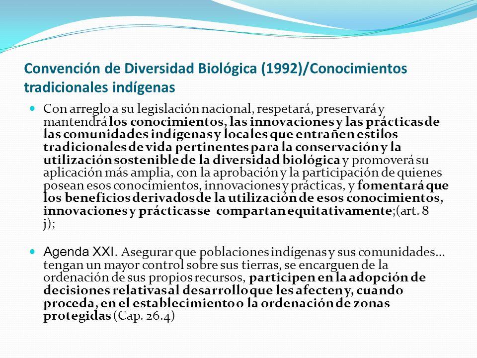 Convención de Diversidad Biológica (1992)/Conocimientos tradicionales indígenas
