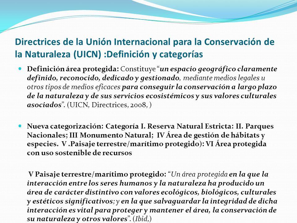 Directrices de la Unión Internacional para la Conservación de la Naturaleza (UICN) :Definición y categorías