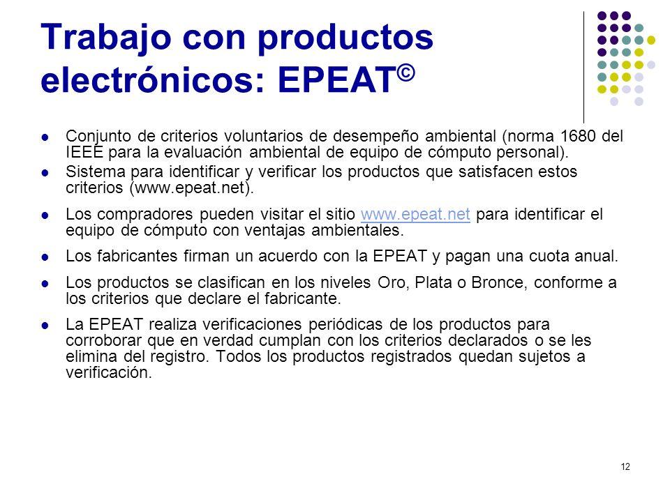 Trabajo con productos electrónicos: EPEAT©