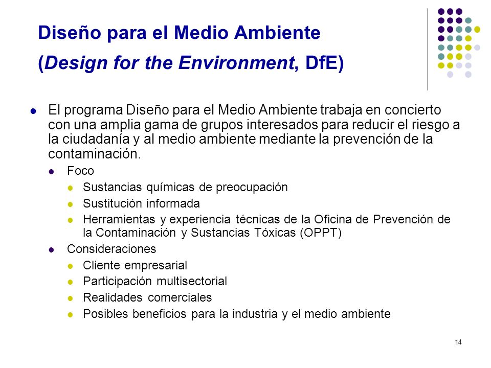 Diseño para el Medio Ambiente (Design for the Environment, DfE)