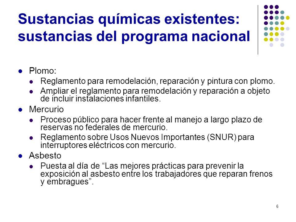Sustancias químicas existentes: sustancias del programa nacional